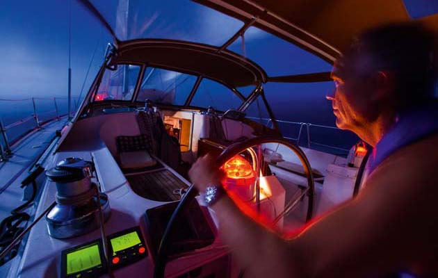 Night Sailing with Red Bulb