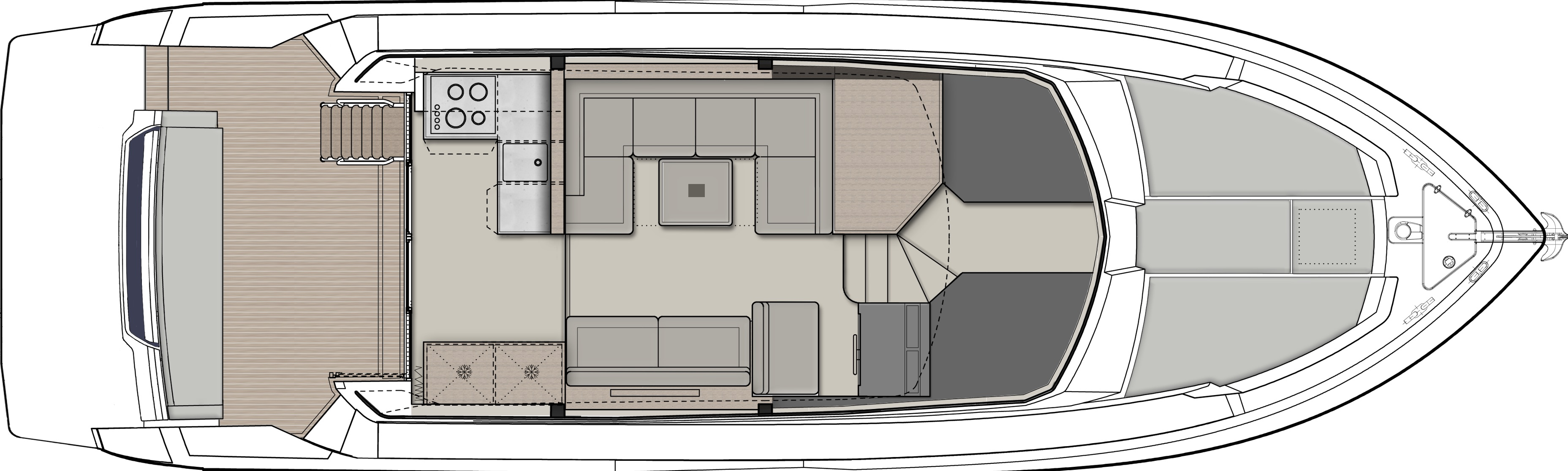 Ferretti 450 Yacht Main Deck Layout