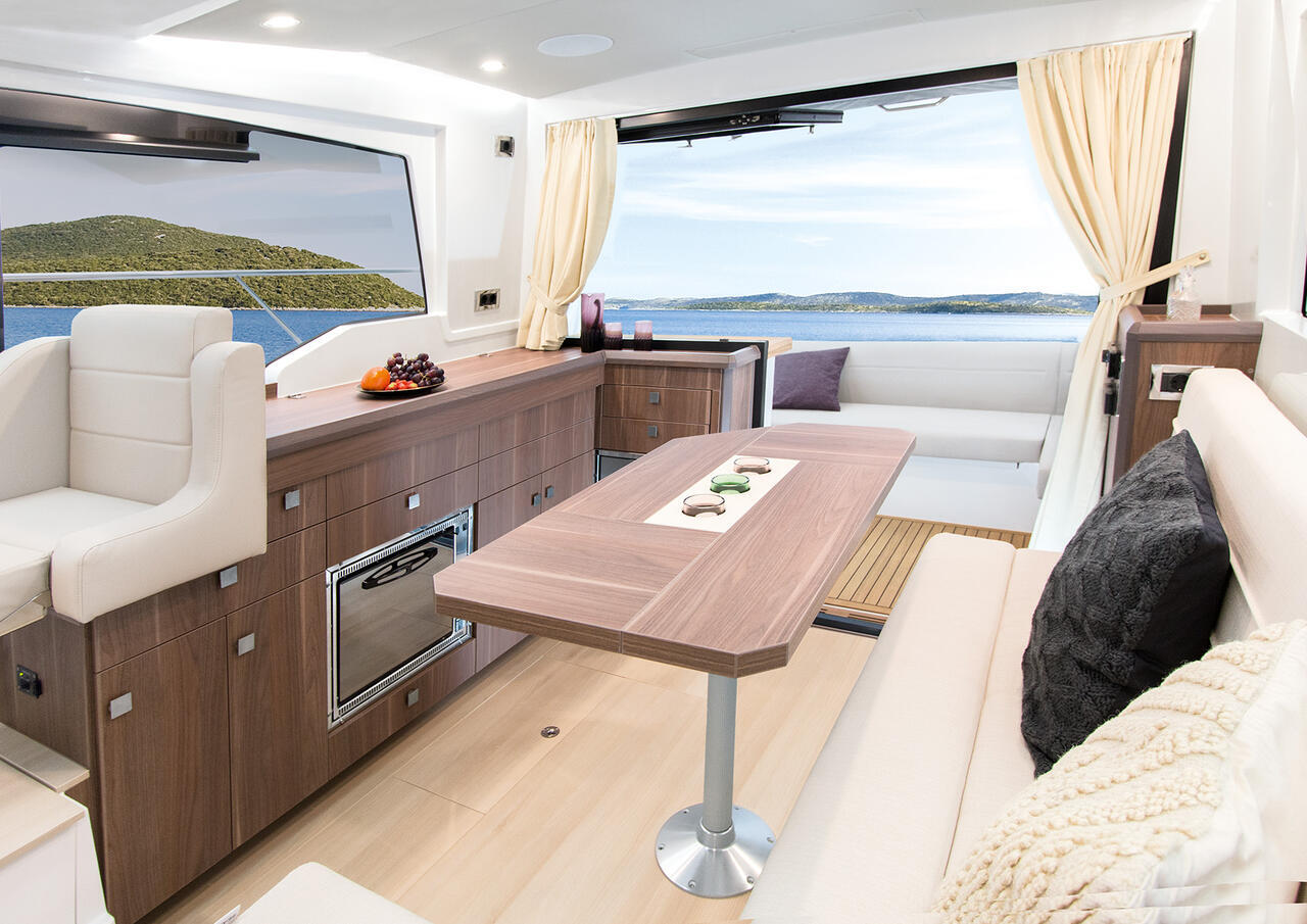 Sealine C330V Lounge and Dining Area